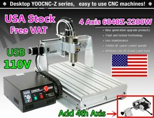 Us 4 Axis 2200w 6040 Usb Cnc Router Mach3 Engraver Drilling Milling Machine 110v