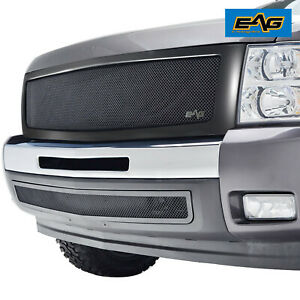 Eag Fit 07 13 Chevy Silverado 1500 Black Front Grille Stainless Steel W Shell