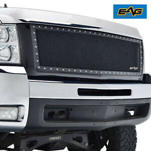 Eag Mesh Grille Stainless Steel With Chrome Rivet Fit 07 10 Chevy Silverado 2500