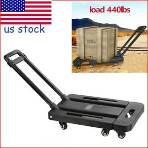 Portable Cart Folding Dolly Collapsible Trolley Pushhand Mute Trailer Heave Duty