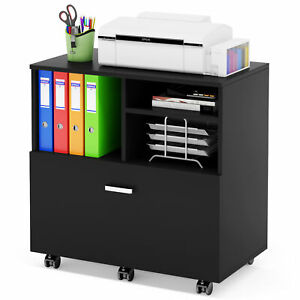 Mobile Lateral File Cabinet Filing Cabinet W Large Drawer 3 Open Shelves