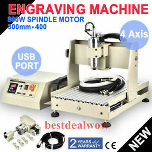 3040 4 Axis Usb 0 8kw Spindle vfd Engraver Cnc Router Carving Machine handwheel