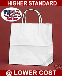 250 Pcs White Vogue Kraft Paper Retail Shopper Gift Bag