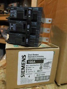 Siemens B3100 Circuit Breaker 3pole 100amp 240v Type Bl New 1year Warranty Sale
