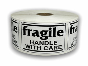 1000 Labels 2x3 Black white Fragile Handle With Care Shipping Mailing Stickers