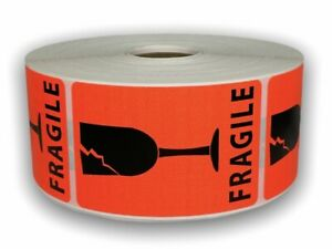 500 Labels 2x3 Br red Broken Glass Shipping Mailing Fragile Warning Stickers