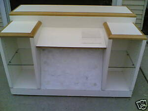 Used Store Fixture Nice Mobile Customer Service Desk W Display Glass Shelves