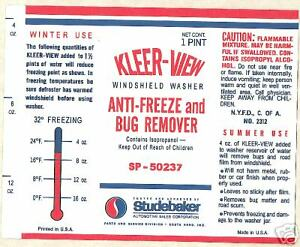 Studebaker 1963 66 Kleer View Windshield Bottle Label