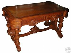 Victorian Library Table W Lions Heads 5931