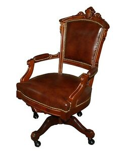 Antique Victorian Swivel Chair In Brown Leather 1800 1899 7285