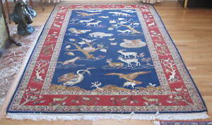 Fine 9x6 Foot Qom Wool Silk Persian Rug By Shakeri Magnificent