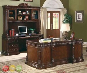 Union Hill 3 Piece Executive Desk Set Wood Hutch Office Furniture Credenza