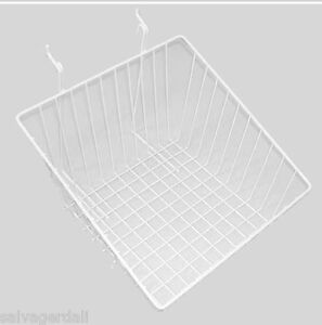 Slanted Basket Gridwall Slatwall Universal Panel Lot Of 6 12x12x8t White New
