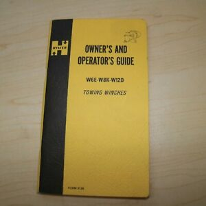 Hyster W6e W8k W12d Towing Winch Owner Operation Operator Manual Dozer Tractor
