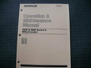 Cat Caterpillar 980f Wheel Loader Operation Maintenance Owner Manual Front End