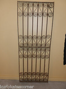 Antique 100 Year Old French Wrought Iron Gate Headboard