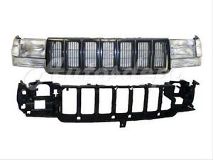 For 97 98 Jeep Grand Cherokee Header Panel Grille Signal Corner Headlight 8pc