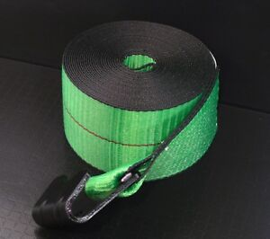 4 Green 4 X 30 Winch Straps Flat Hook Flatbed Truck Trailer Tie Down Strap Fh