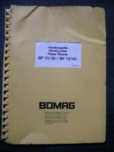 Bomag Bp10 Bp36 Bp15 Bp45 Vibratory Plate Compactor Parts Manual Book Spare List