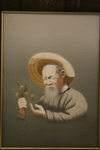 Japanese Silk Embroidery Old Man Signed Early Mid 20c