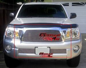 Fits 2005 2010 Toyota Tacoma Billet Grille Combo Upper lower