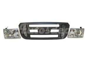 For 06 09 Ford Ranger W o Stx Grille Gray Headlight Set 3pc