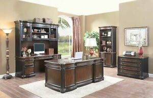 Wood 4 Piece Executive Office Furniture Set Desk Credenza Hutch File Cabinet