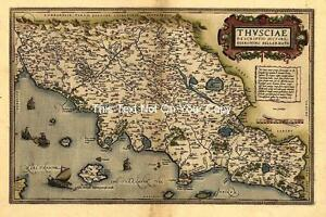 Large A1 Ortelius Central Italy Tuscany Florence Rome Siena Pisa Italian Map