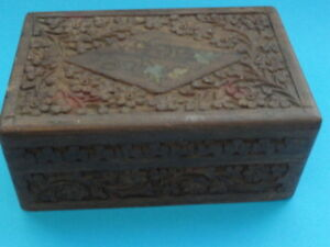 Middle Eastern Carved Wood Inlay Trinket Box Antique