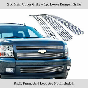 Fits 2007 2013 Chevy Silverado 1500 Chrome Billet Grille Grill Insert Combo