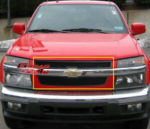 Fits 2004 2010 Chevy Colorado Black Stainless Mesh Main Upper Grille Insert