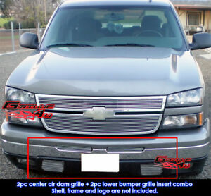 Fits 2003 2006 Chevy Silverado 1500 2500 Billet Grille Combo