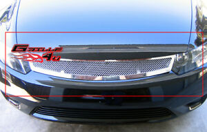 Fits 2006 2008 Honda Civic Coupe Stainless Steel Mesh Main Upper Grille
