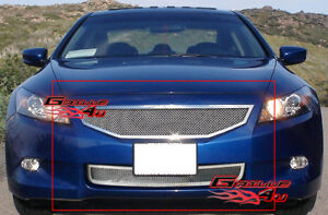 Fits 2008 2010 Honda Accord Coupe Stainless Mesh Grille Combo
