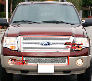 Fits 2007 2014 Ford Expedition Stainless Mesh Grille Combo