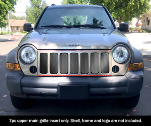Fits 2005 2007 Jeep Liberty Billet Main Upper Grille Insert