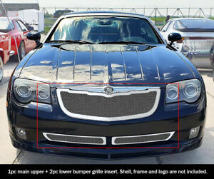 Fits 2004 2008 Chrysler Crossfire Stainless Mesh Grille Combo