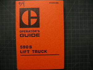 Caterpillar 590s Forklift Operation Owner Operator Manual Cat Towmotor Guide