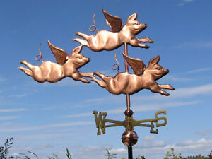 Copper Three Pigs Weathervane Made In Usa 334