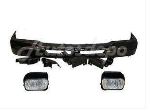 For 03 04 Chevy Silverado Front Bumper Blk Bracket Fog 3pcs