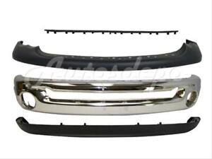 Bundle For 03 05 Dodge Ram 1500 25 3500 Front Bumper Chrome Up Lower Step Pad 4p