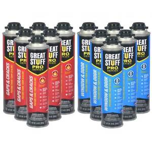 Great Stuff Pro Gaps And Crack 24 Oz Window And Door 20 Oz 6 Cans Of Each
