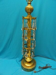 Mid Century Tole Italian Toleware Table Lamp With Crystal Drops 38