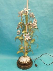 Vintage 60 S Italian Toleware Painted Floral Tole Table Lamp 40 Fabulous