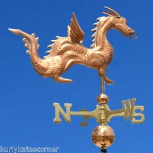 Hot Dragon Weathervane W Copper Balls Brass Directionals Made In The Usa 318