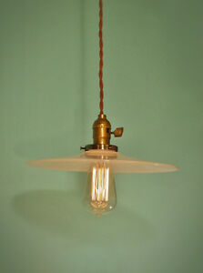 Vintage Industrial Hanging Light W Flat Lamp Shade Machine Age Milk Glass