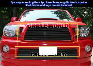 Fits 2005 2010 Toyota Tacoma Black Billet Grille Combo Insert