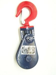2 Ton Snatch Block With Swivel Hook Safety Latch 3 Sheave 3 8 Cable