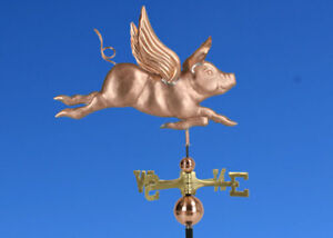Copper Flying Pig Weathervane Made In Usa 366