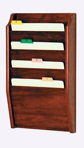 Wooden Mallet 4 Pocket Letter Size File Holder Mahogany 5x27x16 Ch14 2mh New